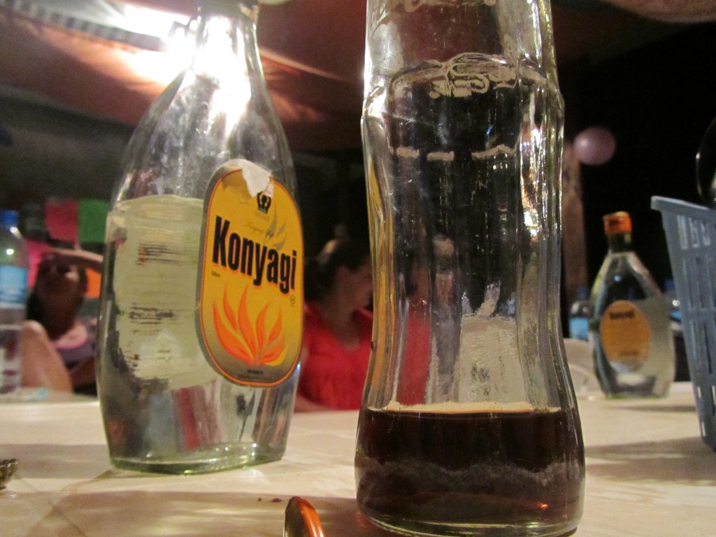 Konyagi bottle on table