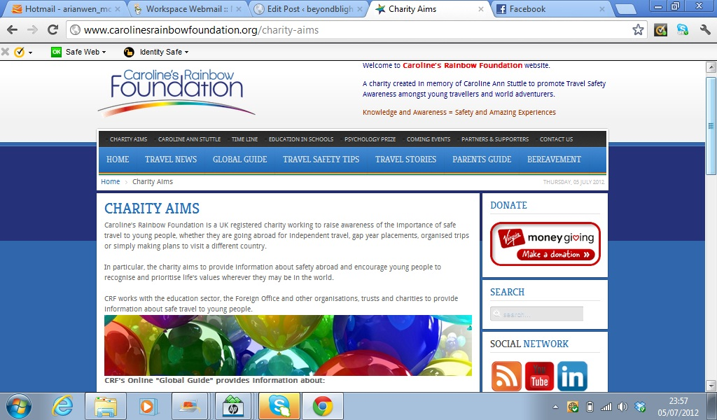 Caroline's Rainbow Foundation screen shot