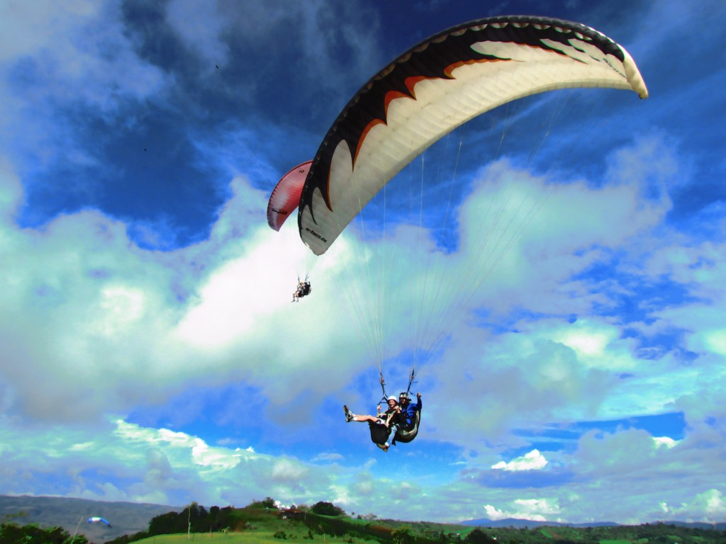 Paragliding in San Gil - two overhead