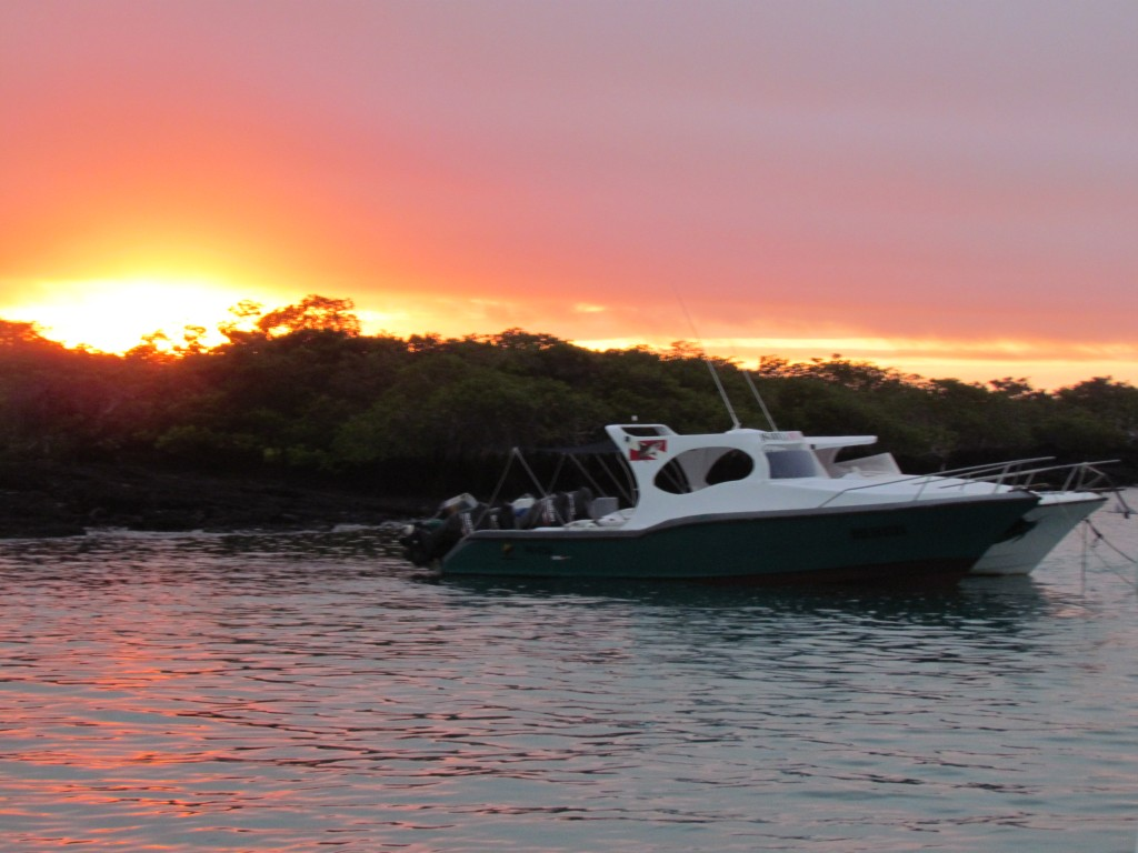 Galapagos cruise - boat at sunrise