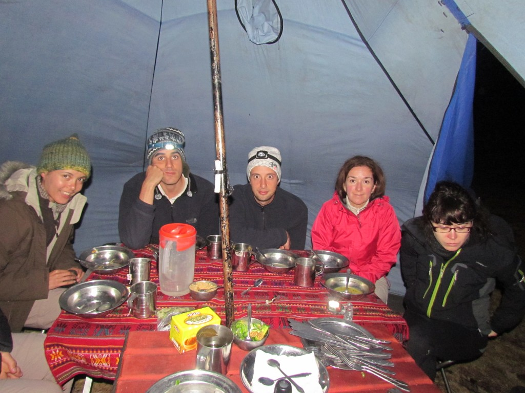Santa Cruz trek - snuggled in the dinner tent