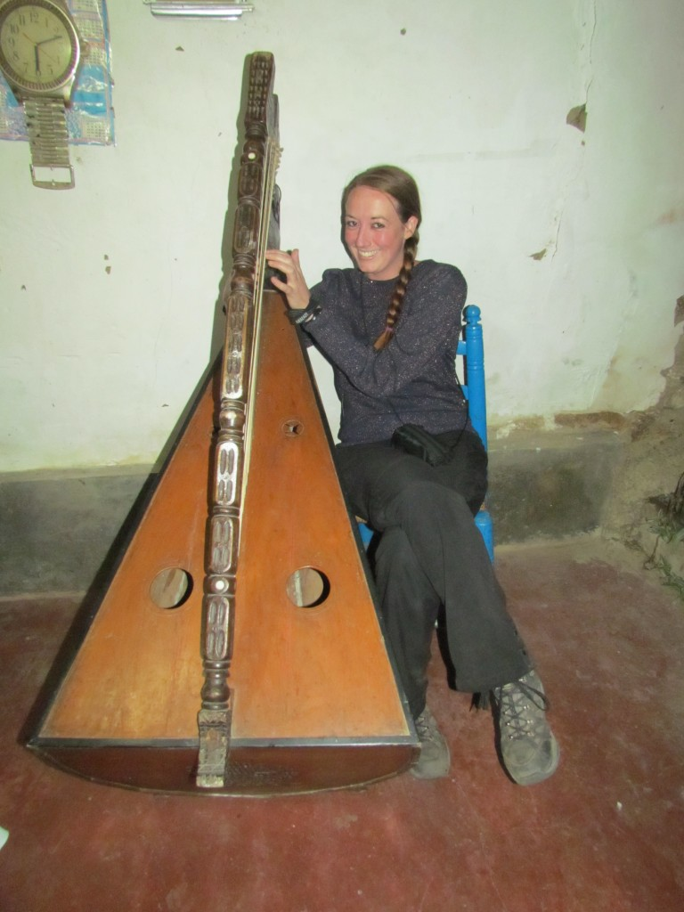 Santa Cruz trek - playing the harp
