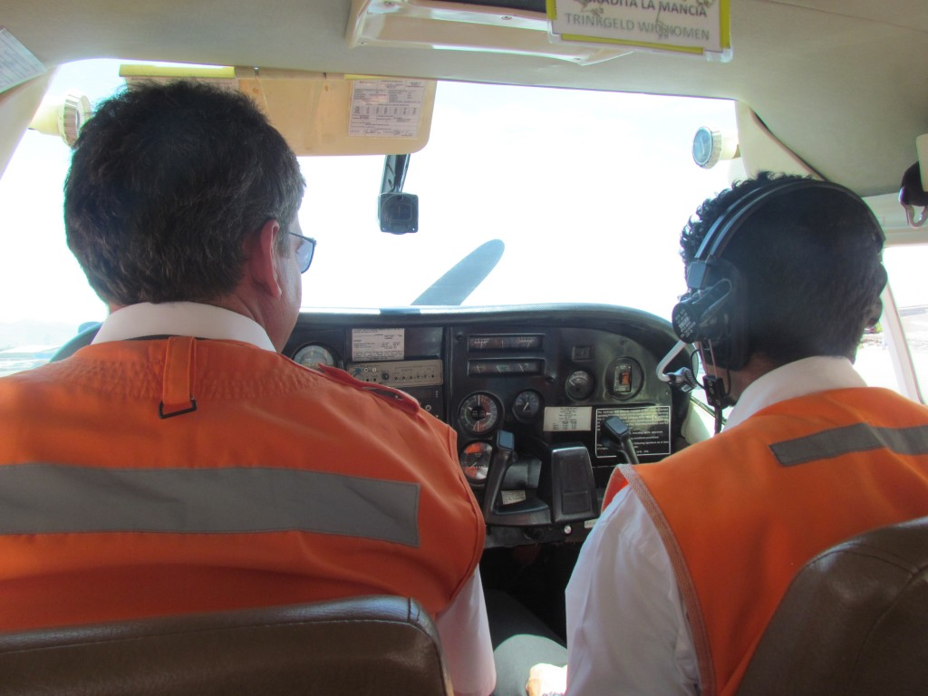 Flying over Nazca - pilots concentrating
