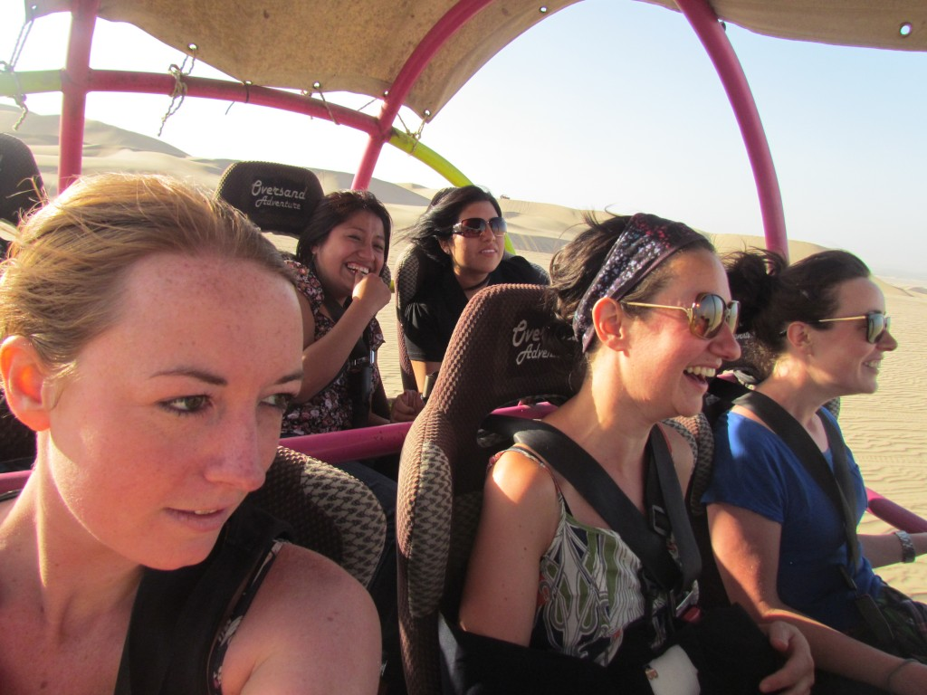 Sand boarding in Huacachina - scared in the buggy