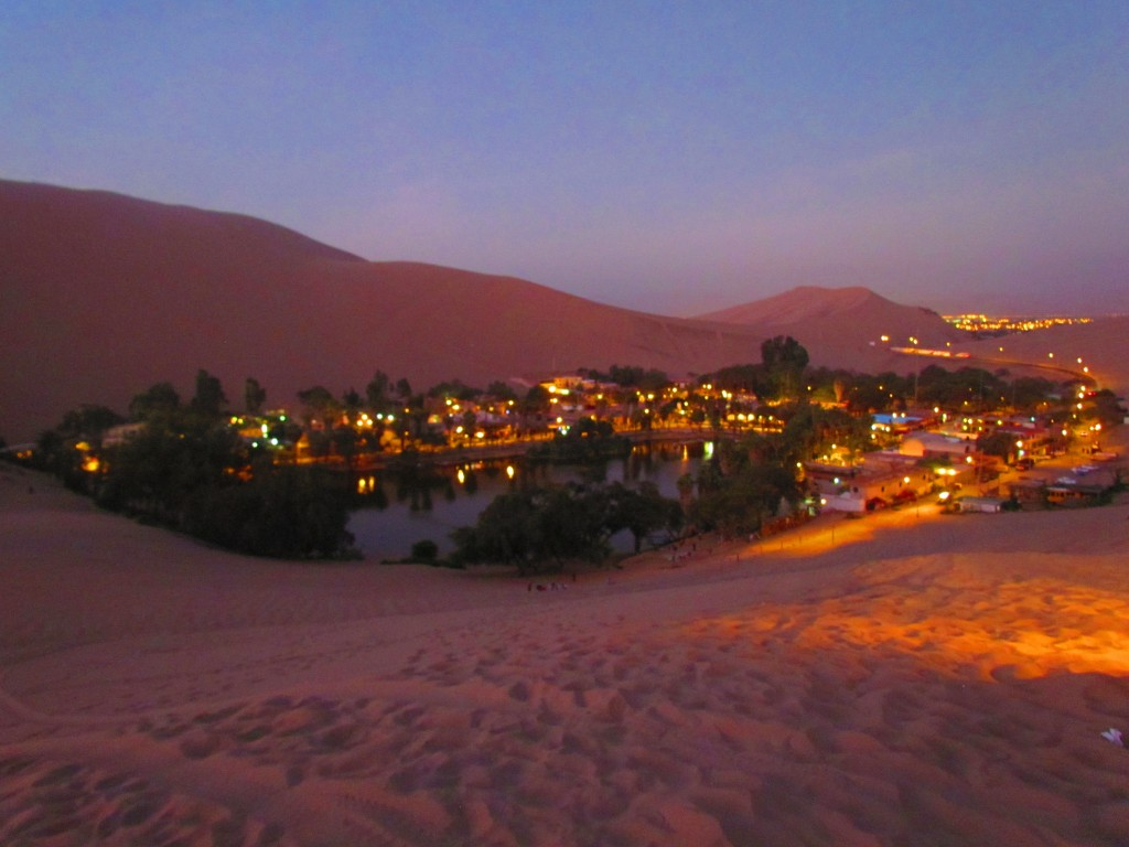 Sand boarding in Huacachina - Huacachina at night