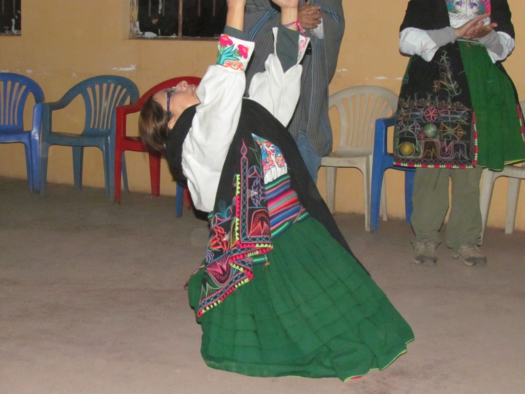 Homestay on Amantani - crazy woman dancing