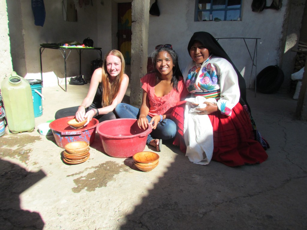 Homestay on Amantani - washing up