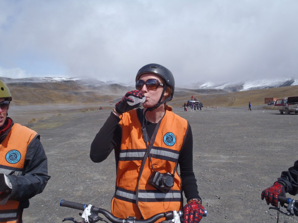 Cycling death road - drinking ceibo