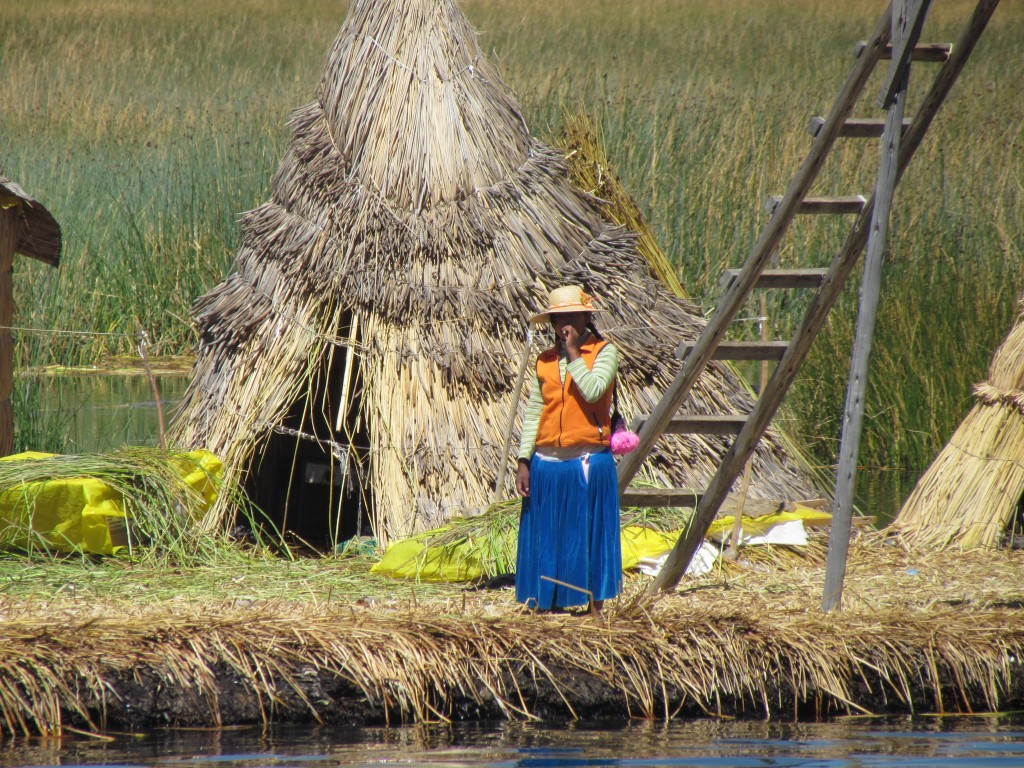 Floating Uros Islands - local Uros woman
