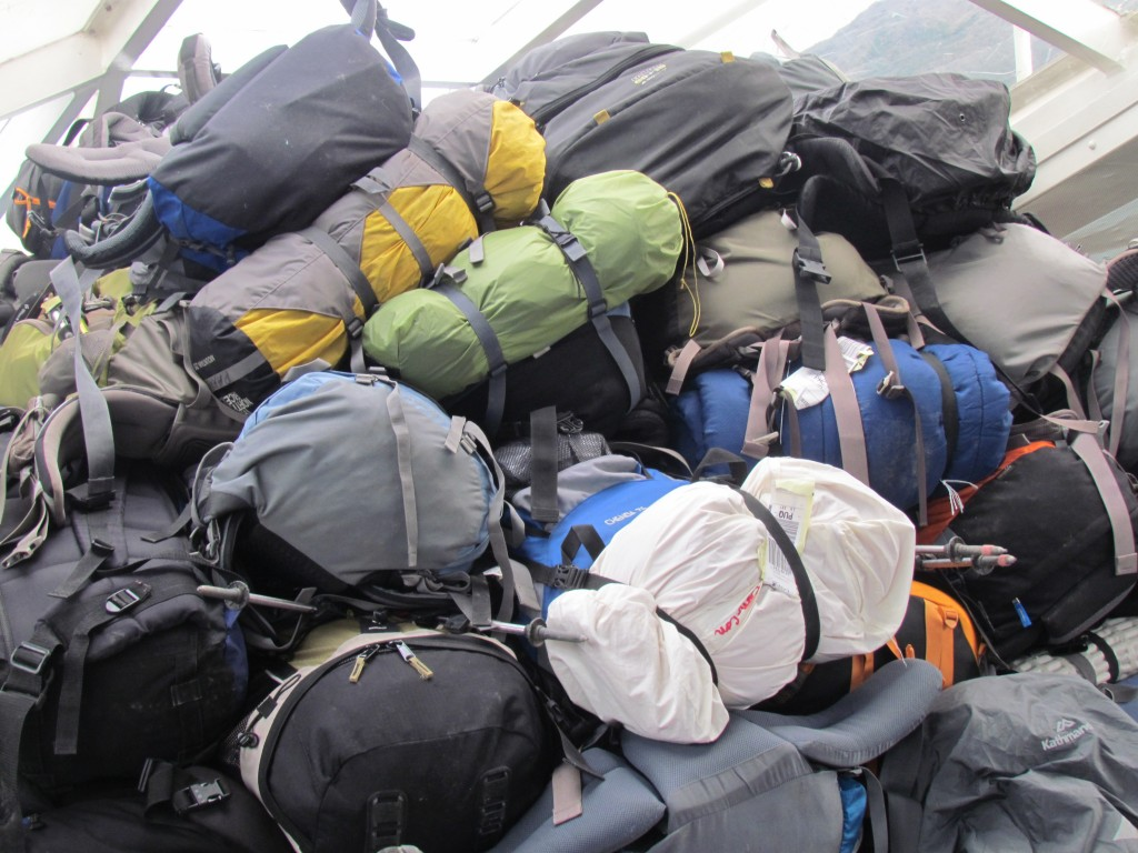 tips on hiking the W trek - bag pile