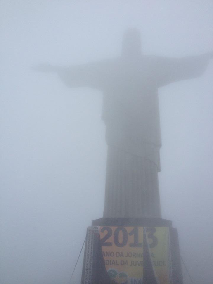 Visiting Christ the Redeemer - shrouded in fog