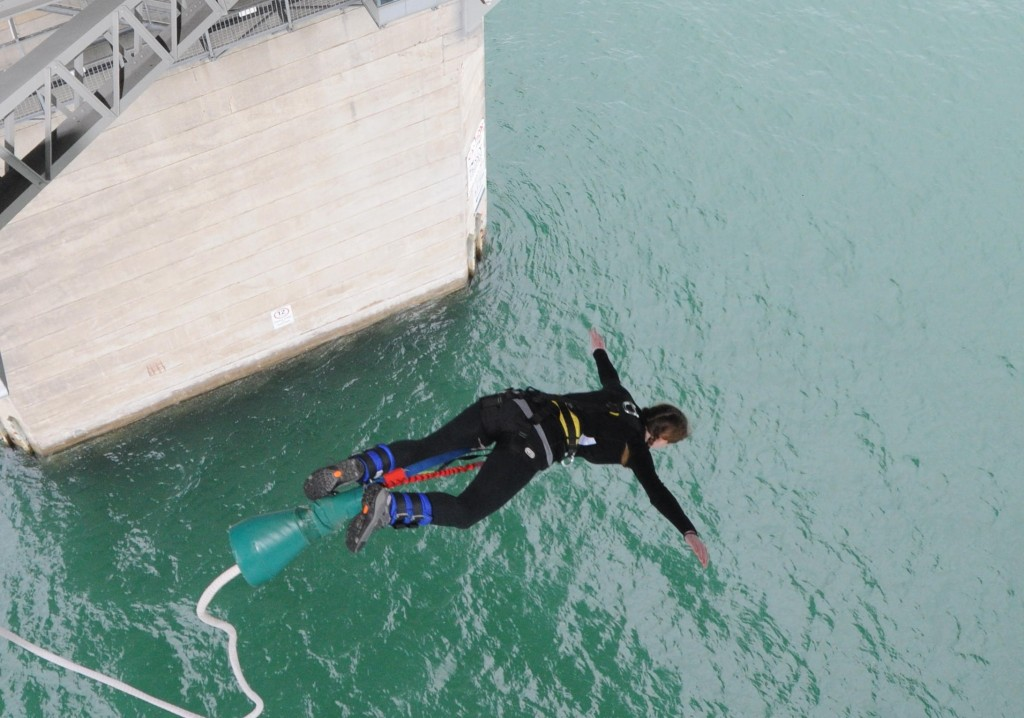 Auckland Harbour Bridge Bungy - Ari almost there