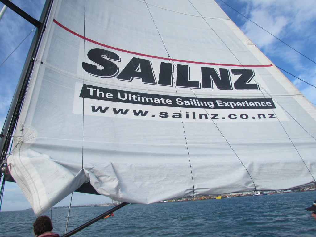 America's Cup Sailing in Auckland - Main sail flying high