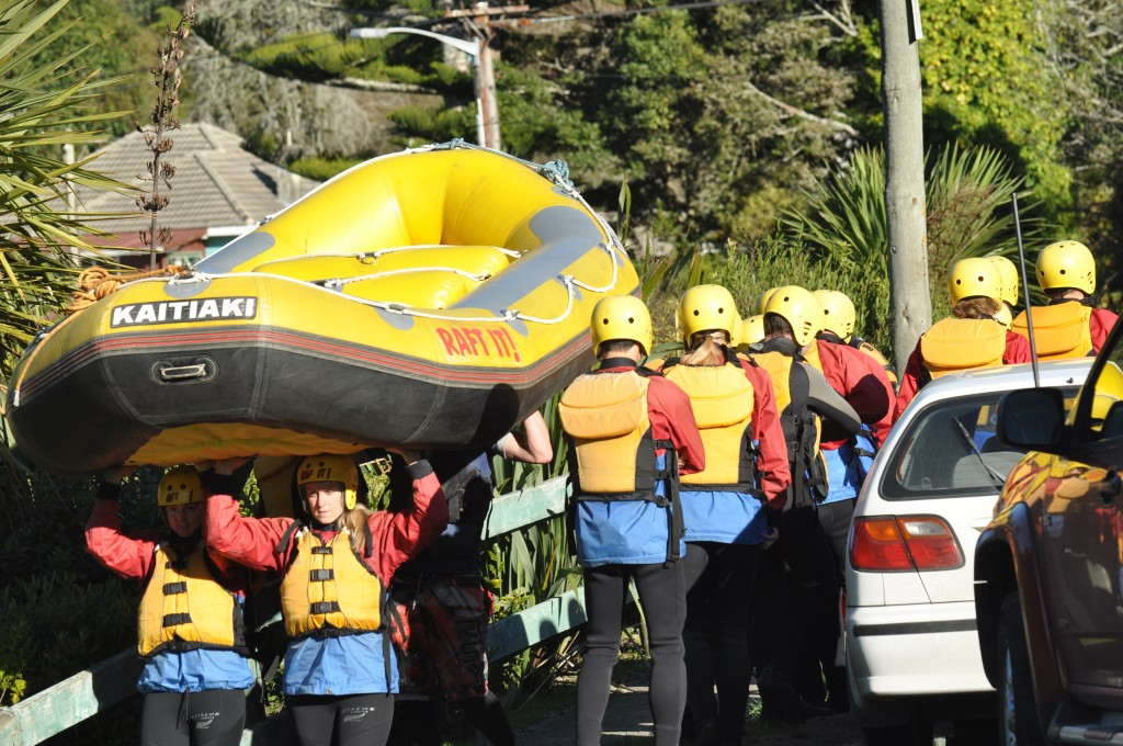 Rafting in New Zealand - Kaitiaki Adventures - carrying the raft
