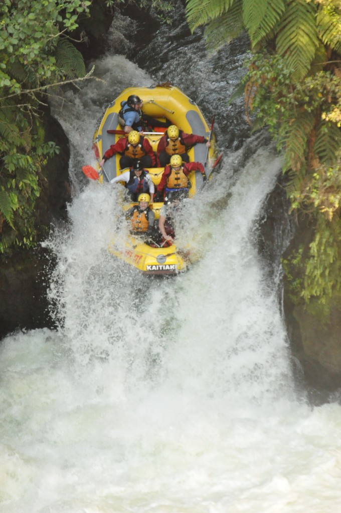 Rafting in New Zealand - Kaitiaki Adventures - 7 metre waterfall part 2