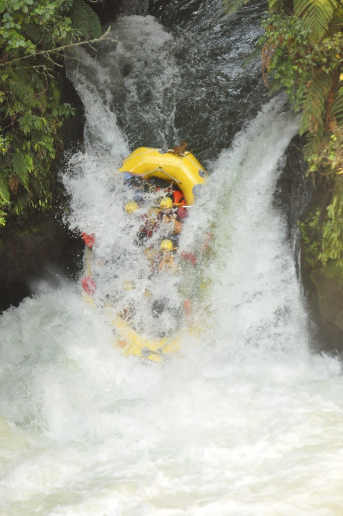 Rafting in New Zealand - Kaitiaki Adventures - 7 metre waterfall part 3