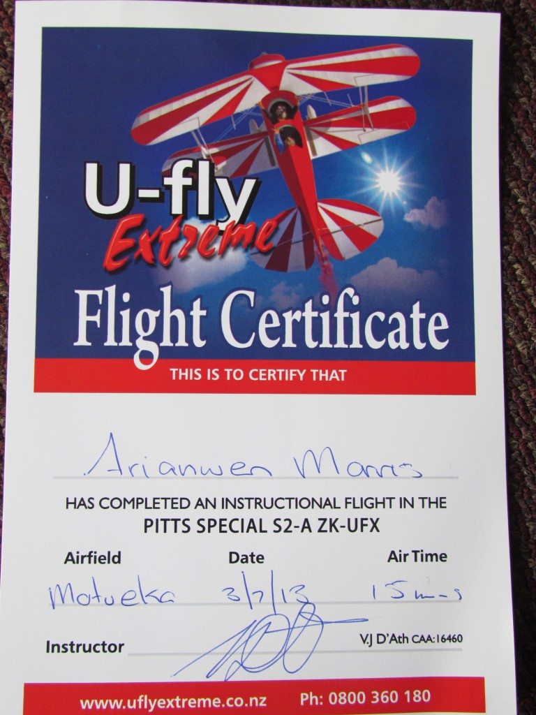 Learn to Fly a Stunt Plane in Abel Tasman - my certificate