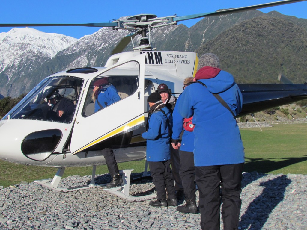 Glacier hike on Franz Josef - helicopter boarding