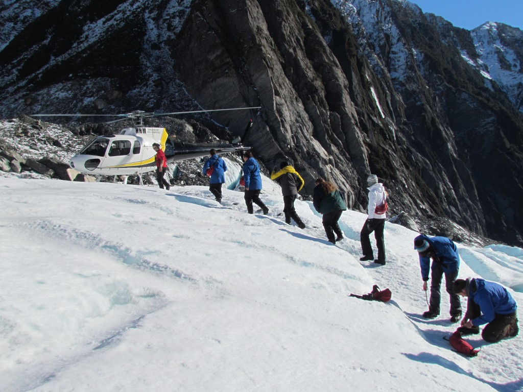 Glacier hike on Franz Josef - boarding the helicopter