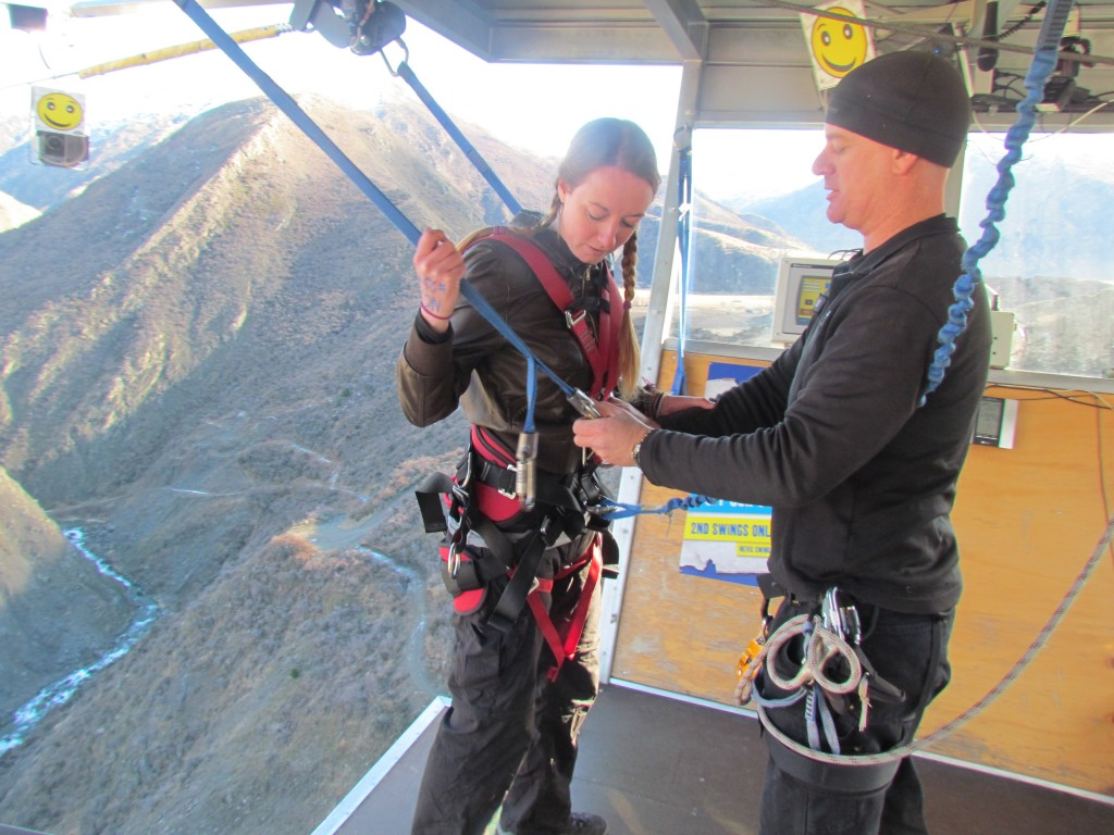 Biggest swing in the world - getting harnessed in