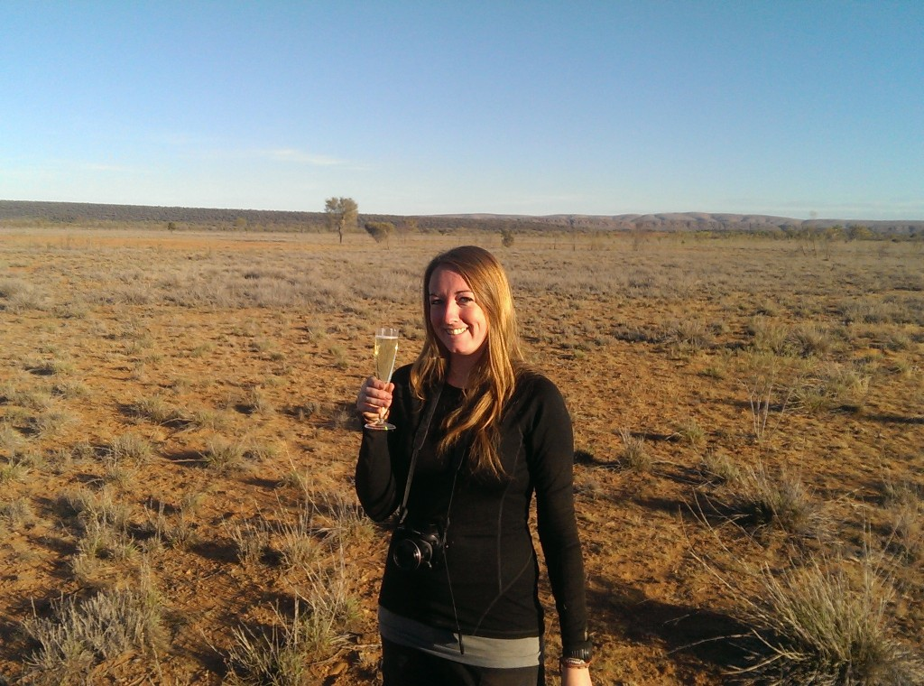 Outback Ballooning in Alice Springs - celebratory bubbly