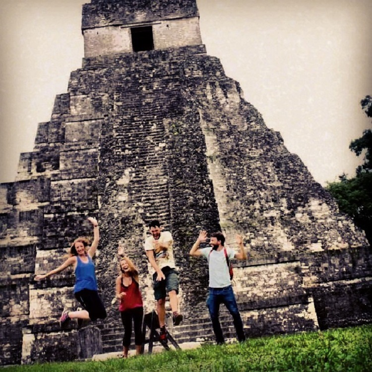 Visiting Tikal - Jumping Photo - Guatemala Ruins