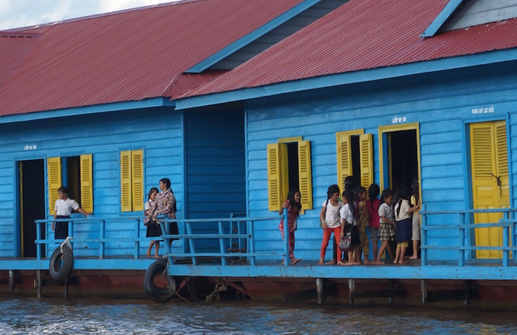 Floating Villages on Tonle Sap Lake - Floating School