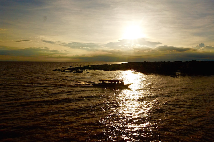 Floating Villages on Tonle Sap Lake - Sunset