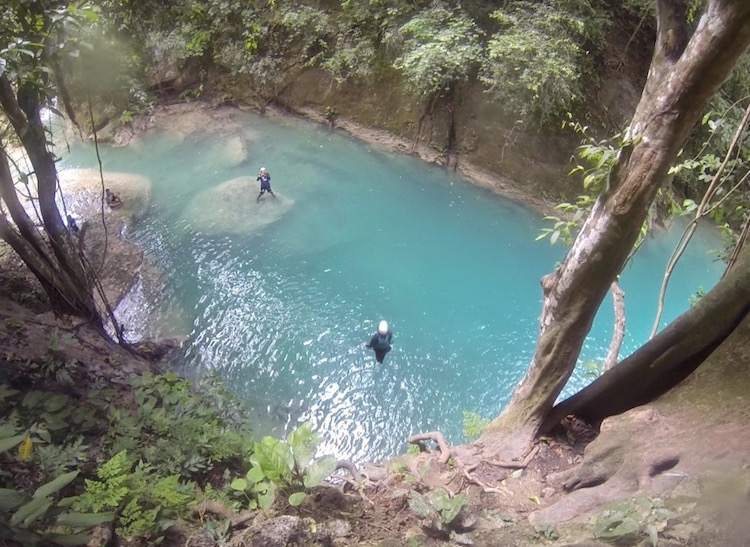 Canyoning Kawasan Falls - Really Big Cliff Jump!
